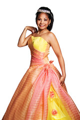 Quinceañera Hispanic Woman Wearing Formal Dress