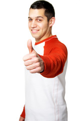Young man holding thumb up isolated