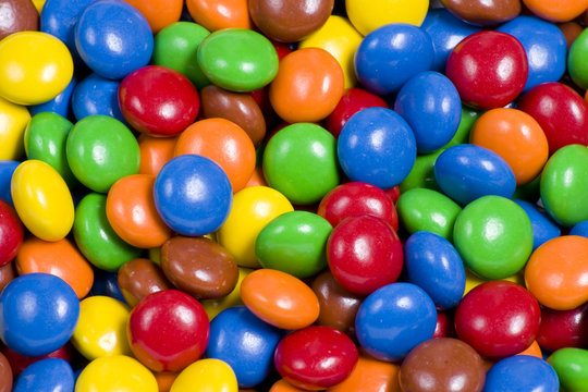 Assortment of Colorful Chocolate Candy Background