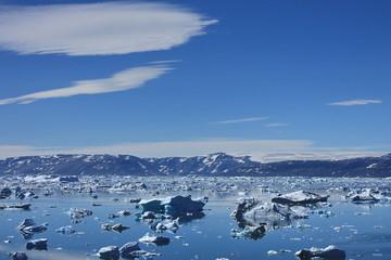 Poster Antarctic Icebergs floating