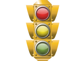 Traffic signal on white
