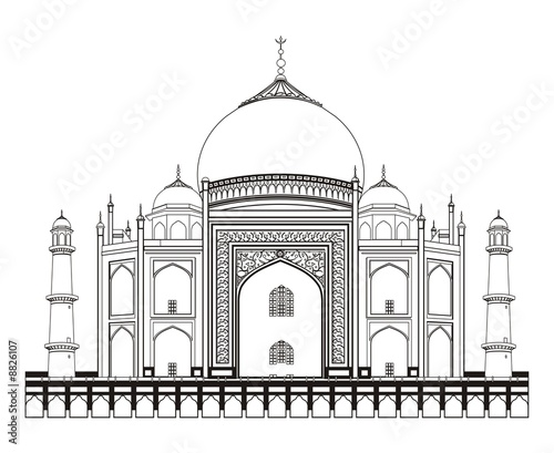 Line Art Xl 2008 : Quot line art of taj mahal stock photo and royalty free