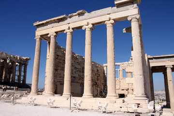 Acropolis in Athens – Greece, details of the Erechtheum