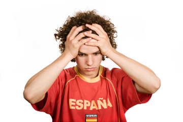 spanish young man supporter, isolated on white