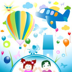 Printed roller blinds Airplanes, balloon happy world, abstract design for kids