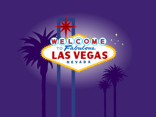 illustration of Las Vegas Welcome Sign at Night with Palm Trees