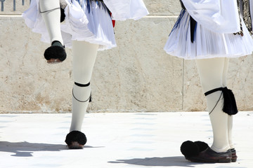 legs, ceremonial changing guard in Athens, Greece