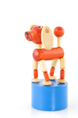 toy dog in blue and red
