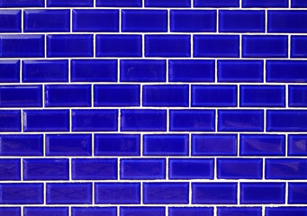 Blue ceramic wall tiles background..