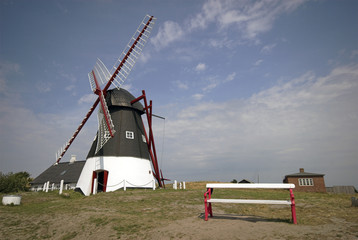 Old restored windmill on Danish island Mandoe