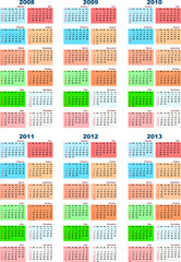 A set of calendars on 2008-2013
