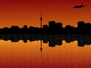 plane arriving in Berlin at sunset illustration