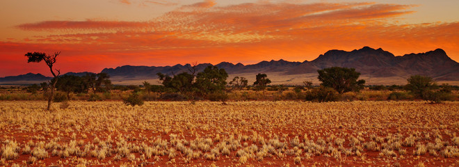 Colorful sunset in Kalahari Desert, Namibia