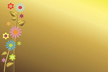 Goldener Hintergrund mit Blüten am linken Rand