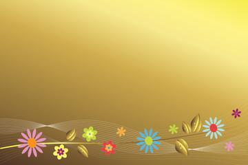 Goldener Hintergrund mit Blüten am unteren Rand