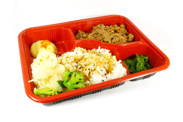 TV Dinner Set With Beef, Rice and Vegetables