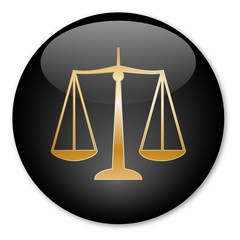 """""""Scales of Justice"""" button (Gold)"""