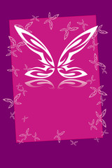 The butterfly on violet background