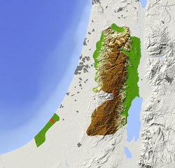 West Bank and Gaza Strip. Shaded relief map.