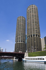 Fototapete - Marina Towers Buildings in Chicago