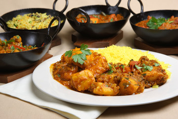 Chicken pathia curry with rice and Bombay aloo
