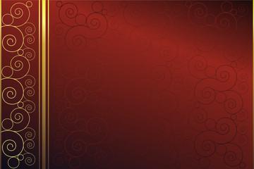 Roter Hintergrund mit Spiralen in Gold und Rot