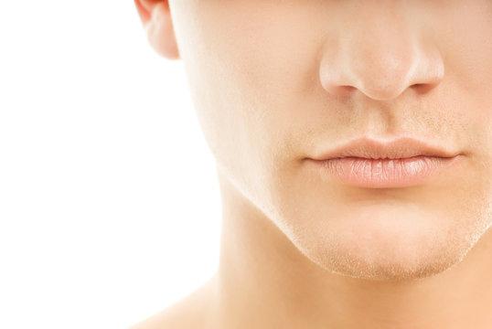 Close-up shot of a part of man's face