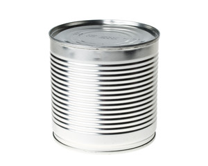 Blank tin can on white background