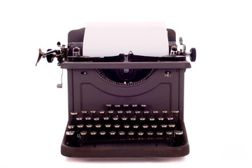 A vintage, antique typewriter on white background