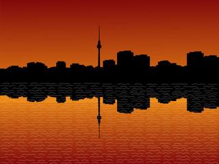 Berlin skyline at sunset with beautiful sky illustration