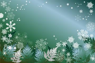 Schneeflocken und Blätter in Blau, Grün, Silber und Weiss