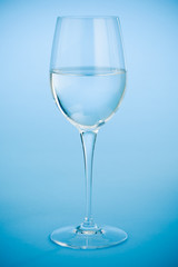 Wine glass filled with crystal clear water