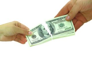 Couple breaking money after divorce or breaking contract