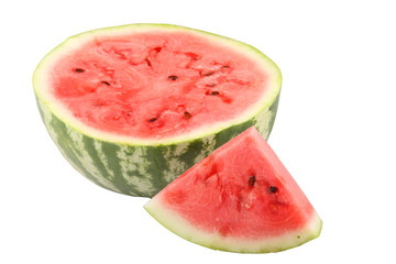 Juicy appetizing half watermelon isolated on white