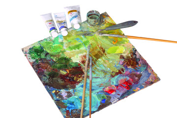 Palette of the artist after work