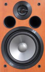 2-way wooden speaker close up.