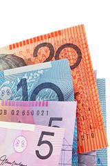 Australian money, fanned against white background.