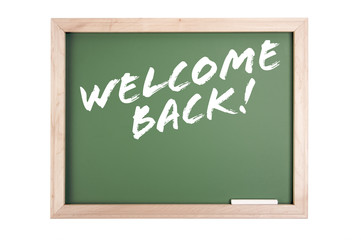 Welcome Back Chalkboard Isolated on a White Background.