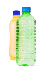two bottles full of water against white background,