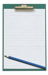 empty clipboard with pencil isolated on white
