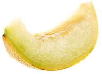 Melon yellow fruit slice in white background