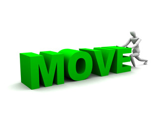 3D render of a human figure pushing the word move.