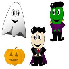 Poster de jardin Creatures Cartoon Halloween characters