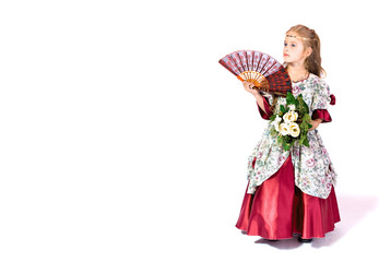 young girl as princess on white background