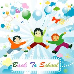 back to school;  joyful design with children playing
