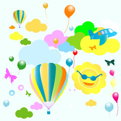 Printed roller blinds Airplanes, balloon seamless toys pattern, funny background for kids