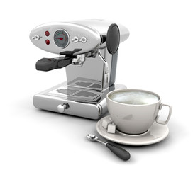 3D render of a contemporary coffee machine with cup of coffee
