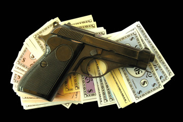 Gun with monopoly money