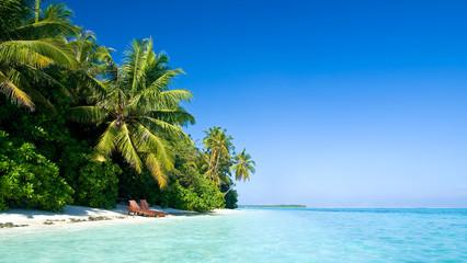 einsamer tropischer Strand mit Liegestühlen