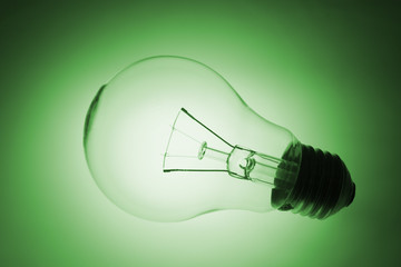 Light Bulb with Glow in Green Tone